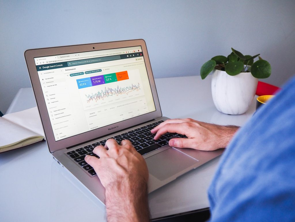 A laptop opened to Google Search Console